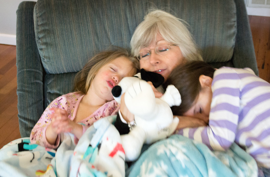 pretend nap with Grandma